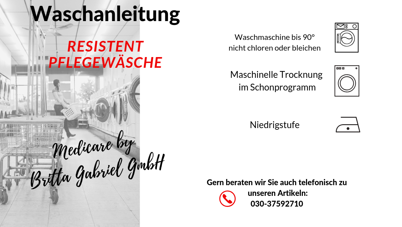 Waschanleitung - Pflegeoverall Standard kurz Resistent