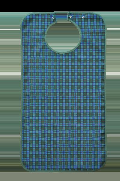 Ess-Schürze Polyester mit Druckknopfverschluss, blaugrün-kariert 5574