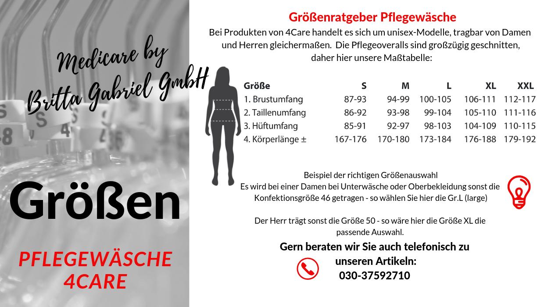Größentabelle - Pflegeoverall Frottee mit Rücken.- und Beinreißverschluss 1041