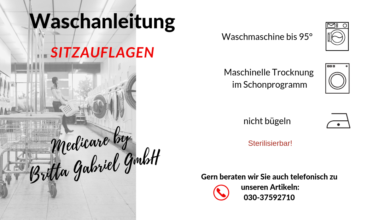 Waschanleitung - Sitzauflage Suprima 3705 ANTI-RUTSCH-NOPPEN