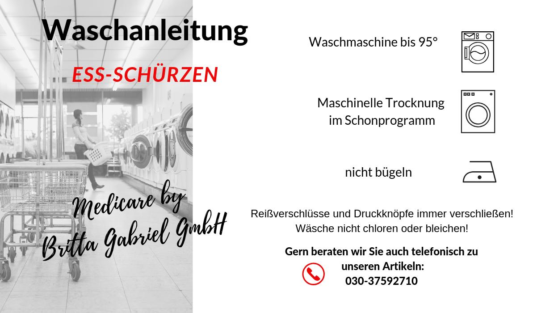 Waschanleitung - Ess-Schürze Polyester mit Druckknopfverschluss blaugrün-kariert 5574
