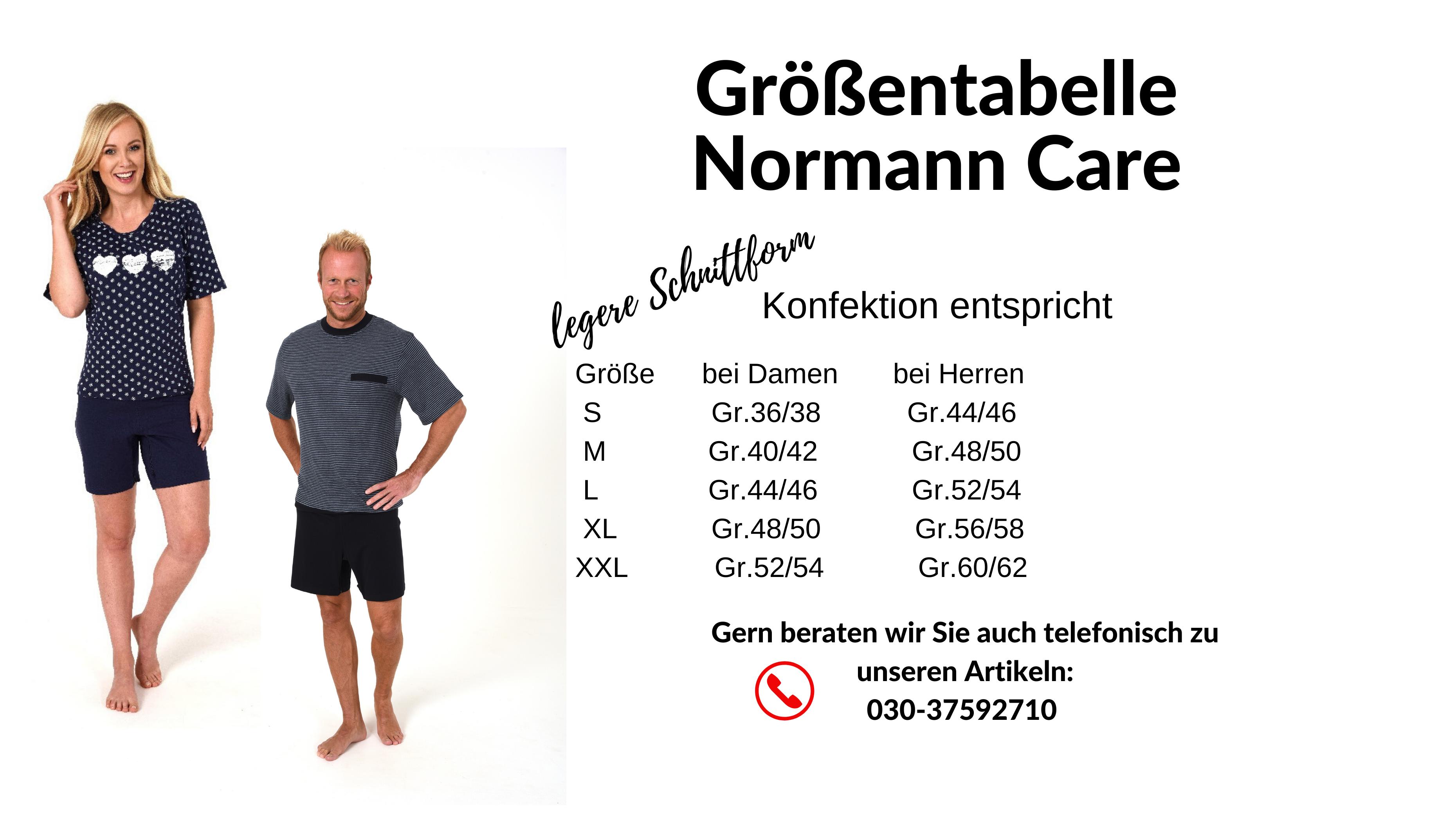 Größentabelle - Pflegeoverall Normann mit Rücken- und Beinreißverschluss