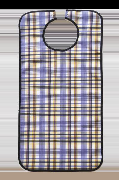 Ess-Schürze Polyester mit Druckknopfverschluss, blau-kariert 5570