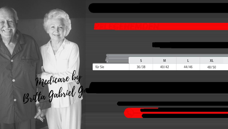 Größentabelle - Pflegenachthemd für Damen und Herren 1402