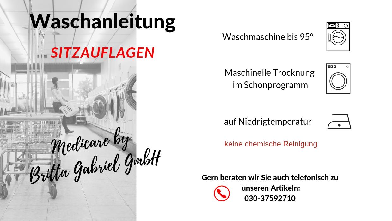 Waschanleitung - Sitzauflage ActivPro 40x50cm